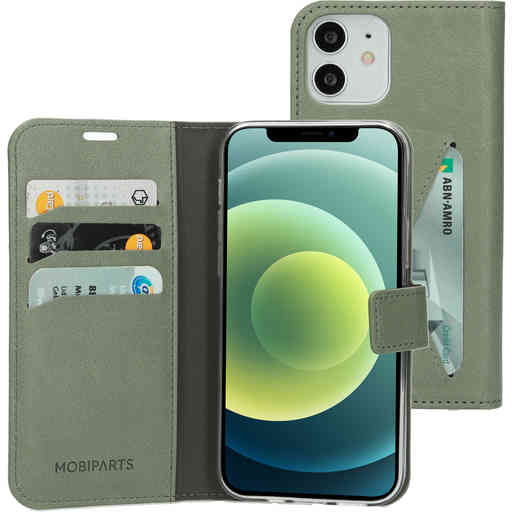 Mobiparts Classic Wallet Case Apple iPhone 12/12 Pro Stone Green