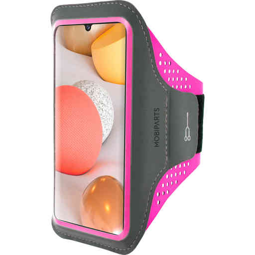 Mobiparts Comfort Fit Sport Armband Samsung Galaxy A42 (2020) Neon Pink