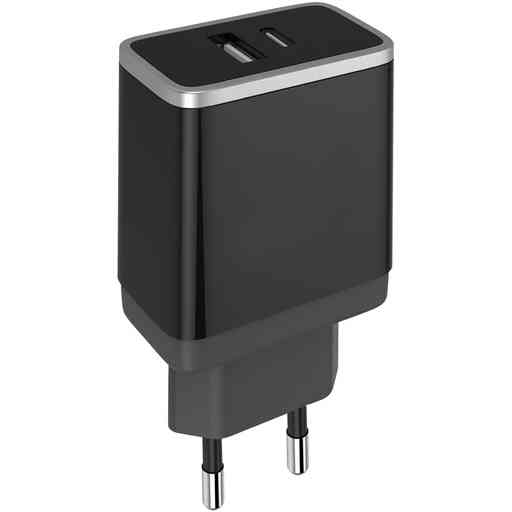 Mobiparts Wall Charger USB-A/USB-C 2.4A + USB-C to USB-C Cable Black