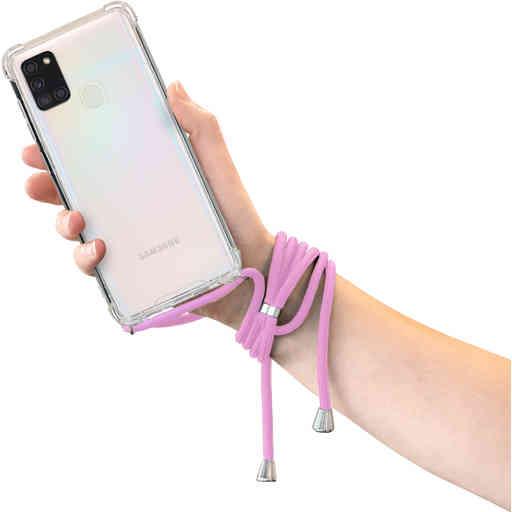 Mobiparts Lanyard Case Samsung Galaxy A21s (2020) Violet Cord