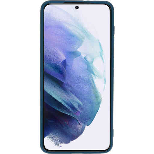 Mobiparts Silicone Cover Samsung Galaxy S21 Blueberry Blue