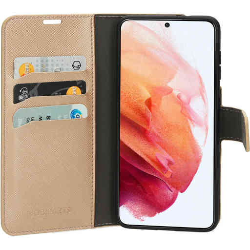Mobiparts Saffiano Wallet Case Samsung Galaxy S21 Copper