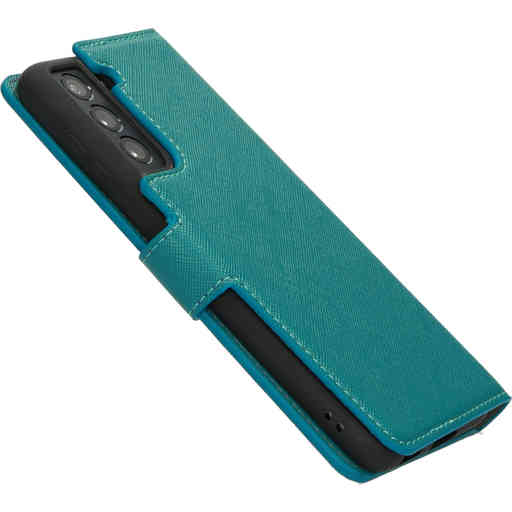 Mobiparts Saffiano Wallet Case Samsung Galaxy S21 Turquoise