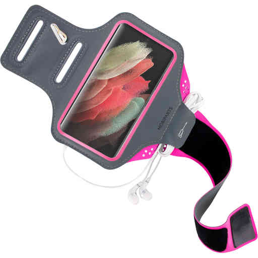 Mobiparts Comfort Fit Sport Armband Samsung Galaxy S21 Ultra Neon Pink