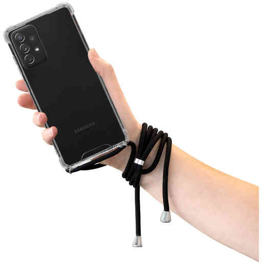 Mobiparts Lanyard Case Samsung Galaxy A72 (2021) 4G/5G Black Cord