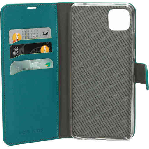 Mobiparts Saffiano Wallet Case Samsung Galaxy A22 5G (2021) Turquoise