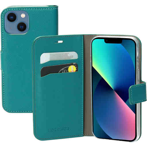 Mobiparts Saffiano Wallet Case Apple iPhone 13 Mini Turquoise