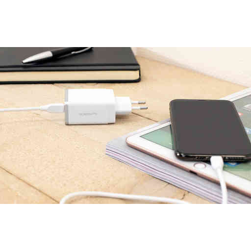 Mobiparts Wall Charger Dual USB 4.8A + Micro USB Cable White