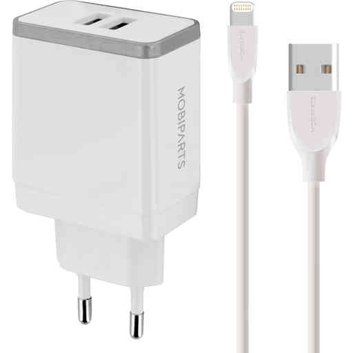 Mobiparts Wall Charger Dual USB 4.8A + Lightning Cable White