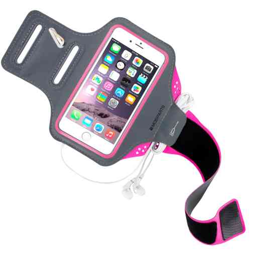 Mobiparts Comfort Fit Sport Armband Apple iPhone 6/6S/7/8/SE (2020) Neon Pink