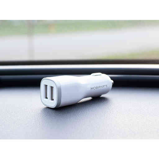 Mobiparts Car Charger Dual USB 2.4A + USB-C Cable White