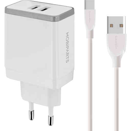 Mobiparts Wall Charger Dual USB 4.8A + USB-C Cable White
