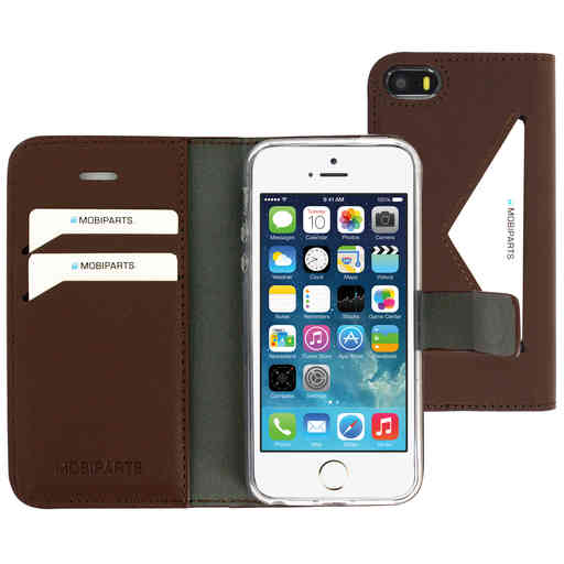 Mobiparts Classic Wallet Case Apple iPhone 5/5S/SE Brown