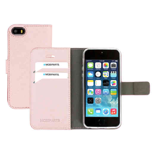 Mobiparts Saffiano Wallet Case Apple iPhone 5/5S/SE Pink