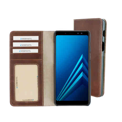 Mobiparts Excellent Wallet Case Samsung Galaxy A8 (2018) Oaked Cognac