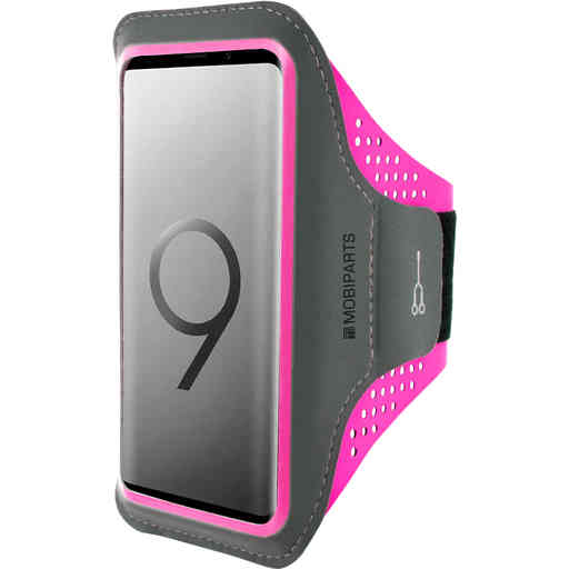 Mobiparts Comfort Fit Sport Armband Samsung Galaxy S9 Neon Pink