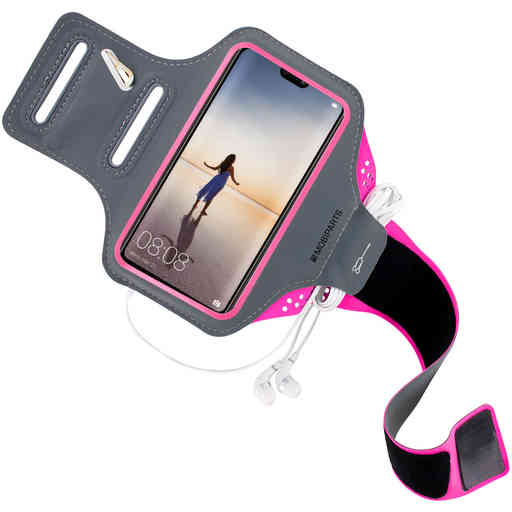 Mobiparts Comfort Fit Sport Armband Huawei P20 Lite Neon Pink