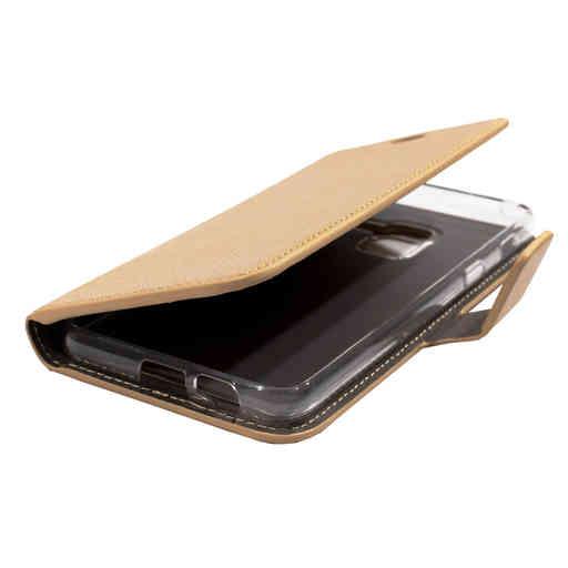 Mobiparts Saffiano Wallet Case Samsung Galaxy A8 (2018) Gold