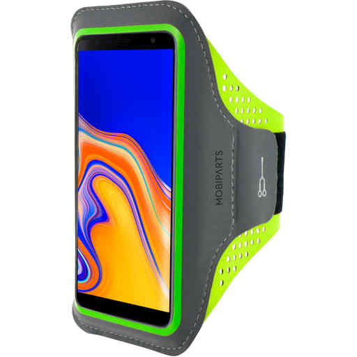 Mobiparts Comfort Fit Sport Armband Samsung Galaxy J4 Plus (2018) Neon Green