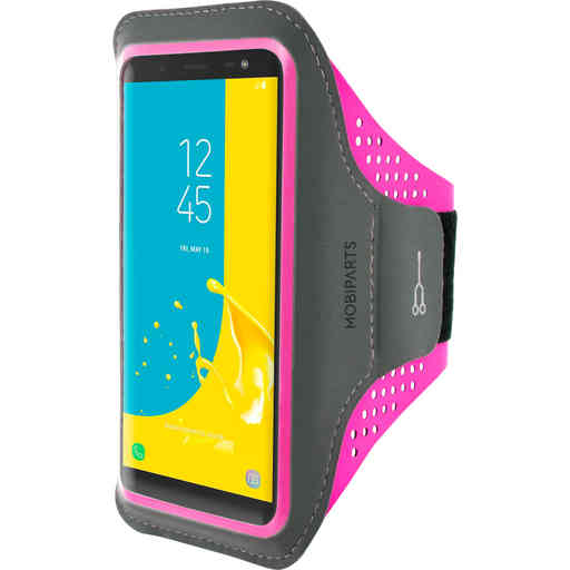 Mobiparts Comfort Fit Sport Armband Samsung Galaxy J6 (2018) Neon Pink