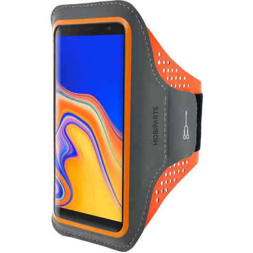 Mobiparts Comfort Fit Sport Armband Samsung Galaxy J6 Plus (2018) Neon Orange