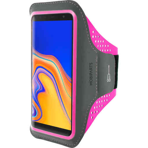 Mobiparts Comfort Fit Sport Armband Samsung Galaxy J6 Plus (2018) Neon Pink