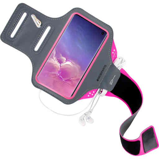 Mobiparts Comfort Fit Sport Armband Samsung Galaxy S10 Neon Pink