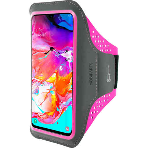 Mobiparts Comfort Fit Sport Armband Samsung Galaxy A70 (2019) Neon Pink