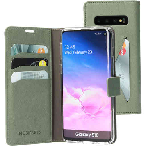 Mobiparts Classic Wallet Case Samsung Galaxy S10 Stone Green