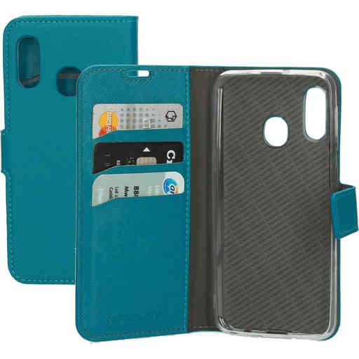 Mobiparts Saffiano Wallet Case Samsung Galaxy A20e Turquoise