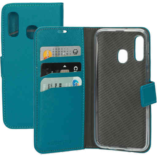 Mobiparts Saffiano Wallet Case Samsung Galaxy A40 Turquoise