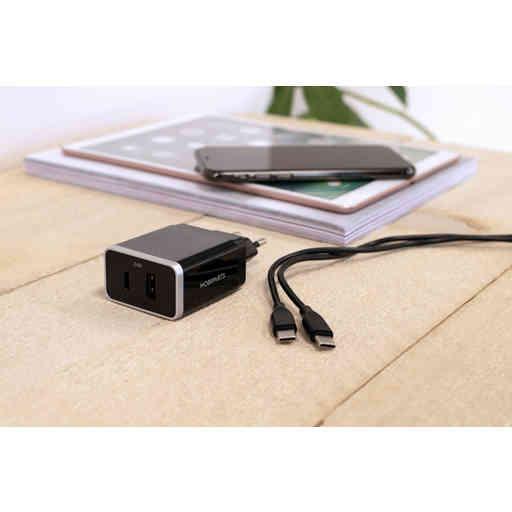 Mobiparts Wall Charger Dual USB-A en USB-C 2.4A Black